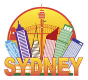 Sydney Australia Skyline Circle Color Illustration Royalty Free Stock Images