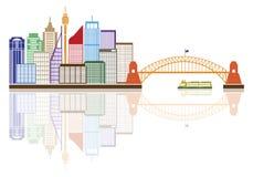 Sydney Australia Skyline Color Vector illustration Arkivfoto