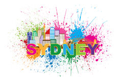Sydney Australia Skyline Colorful Abstract-Illustratie Stock Fotografie