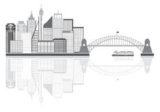 Sydney Australia Skyline Grayscale Vector Illustration Stock Photography