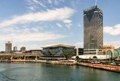 Sydney, Australia - 2019. Sydney Darling Harbor Kings wharf with modern architecture towers and skyscrapers on a sunny summer day royalty free stock images