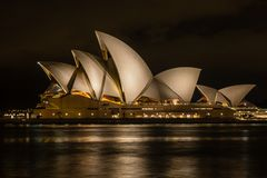 Sydney, Australia - 2019: Sydney Opera House at night, one of the most famous and distinctive buildings in the world.  stock images