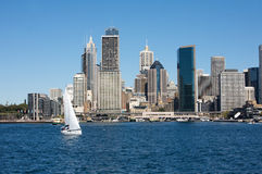 Sydney, Australia view with city skyline. Sydney view with city skyline in the background and boat in the harbour, Australia Royalty Free Stock Photography