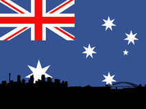 Sydney with Australian flag Stock Photos