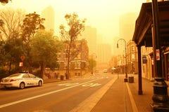 Sydney, Australien, eingehüllt in Staubsturm. Lizenzfreies Stockfoto