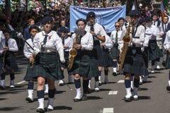 SYDNEY AUSTRALIEN - fördärva 17TH: Sts Patrick högskolamusikband under t Royaltyfria Bilder