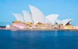 SYDNEY AUSTRALIEN - MAJ 29 2015: Livligt Sydney ljus och ljudfestival på det Sydney Opera huset, Sydney 2015 Royaltyfri Bild