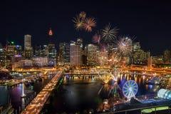 SYDNEY AUSTRALIEN - November 12, 2016: Fyrverkerier på Darling Har Fotografering för Bildbyråer