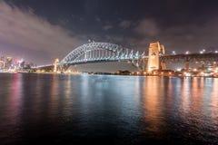 SYDNEY, AUSTRALIEN - 26. NOVEMBER 2014: Sydney Harbour Bridge und Opernhaus Lange Berührung Lizenzfreie Stockbilder
