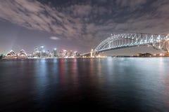 SYDNEY, AUSTRALIEN - 26. NOVEMBER 2014: Sydney Harbour Bridge und Opernhaus Lange Berührung Lizenzfreie Stockfotos