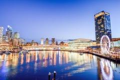 SYDNEY, AUSTRALIEN - 9. Oktober 2017: Panoramanachtansicht von Darling Harbour, Sydney lizenzfreie stockbilder