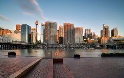 SYDNEY, AUSTRALIEN - 26. Oktober 2016: Sonnenuntergang von Darling Harbour Stockbild