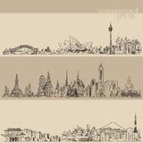 Sydney, Bangkok, Tokyo, Illustratie, Getrokken Hand Royalty-vrije Stock Fotografie