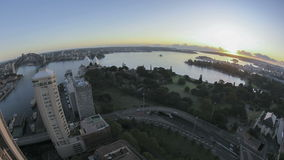 Sydney Bay Area Sunrise Timelapse. In fisheye aerial view stock footage