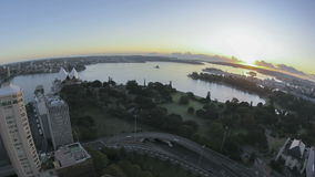 Sydney Bay Area Sunrise Timelapse. In fisheye aerial view stock video