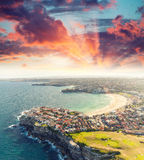 Sydney Bondi Beach. Sunset aerial view from helicopter Stock Photo