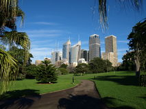 Sydney from Botanic Gardens. Walking to the Botanic Gardens from the Sydney Opera House you are greeted with this beautiful scene of Sydney's eastern aspect royalty free stock image