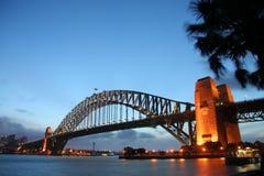 Sydney harbour bridge. Scenic view of Sydney harbour bridge illuminated at dawn, Australia Stock Photos