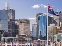 Sydney buildings and Australian flag Stock Images