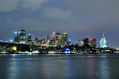 Sydney CBD bij nacht Stock Afbeeldingen