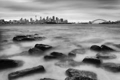 Sydney CBD Bradley Rocks BW Immagine Stock