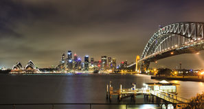 Sydney CBD Bridge Pier Pan dark Royalty Free Stock Photography