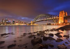 Sydney CBD Bridge Rocks Low Tide Royalty Free Stock Image