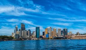 Sydney CBD and Circular Quay. Sydney CBD, Circular Quay and the historic Rocks area under the beautiful cloudy sky stock photo