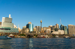 Sydney CBD city view of Darling Harbour and Sydney Tower Royalty Free Stock Photos