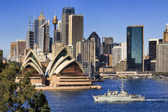 Sydney CBD Coombs Close warship Royalty Free Stock Photos