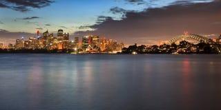 Sydney CBD Cremorne bropanorama Royaltyfri Fotografi