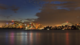 Sydney CBD Cremorne Dusk Panorama Stock Photo