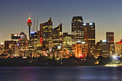 Sydney CBD Cremorne Tower close. Australia SYdney city CBD skyscrapers and tower close up view over sydney harbour at sunset with full illumination Stock Photos