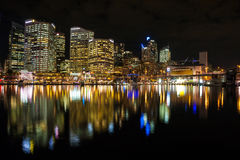 Sydney cbd darling harbor night scape. Sydney, Australia - July 12, 2010 : Sydney cbd darling harbor night scape and Reflection stock photography