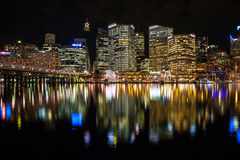 Sydney cbd darling harbor night scape. Sydney, Australia - July 12, 2010 : Sydney cbd darling harbor night scape and Reflection royalty free stock photos