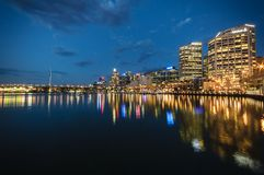 Sydney cbd darling harbour -december 23,2010 night scape with ni Stock Image