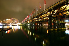 Sydney cbd darling harbour night scape Royalty Free Stock Images