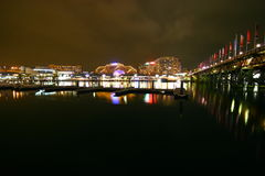 Sydney cbd darling harbour night scape Royalty Free Stock Photo