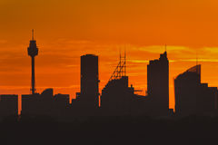Sydney CBD distant Red sky sunset royalty free stock photo