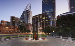 Sydney CBD Fountain Library Sunset Royalty Free Stock Photo