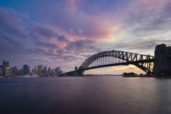 Sydney CBD and Harbour Bridge at sunset. With colourful sky Stock Photography
