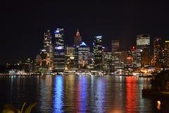 Sydney CBD horisont på natten Arkivfoto