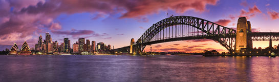 Sydney CBD Milsons Left Pier panorama Royalty Free Stock Images
