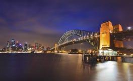 Sydney CBD Milsons punktPier Arch solnedgång Arkivbilder