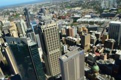 Sydney CBD miniatyrsikt från himlen royaltyfri foto