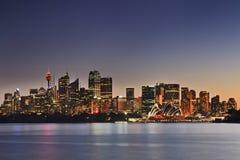 Sydney CBD Pan Cremorne Sunset royaltyfri foto
