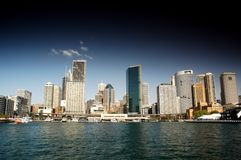 Sydney CBD from Sydney Harbour. Stock Photo of Sydney CBD from Sydney Harbour featuring the city, circular quay, the rocks, ferry, waterfront skyline. Modern and Stock Image