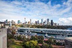 Sydney Central Business District View from Potts Point. Potts Point, Sydney, Australia -September 03, 2018: Sydney Skyline and Woolloomoollo Bay - Rooftop View Stock Photo