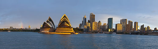 Sydney circular quay large panorama. View of the opera house and circular quay at sunset royalty free stock images