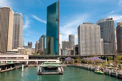 Sydney Circular Quay railway station in front of Central Business District Stock Photography